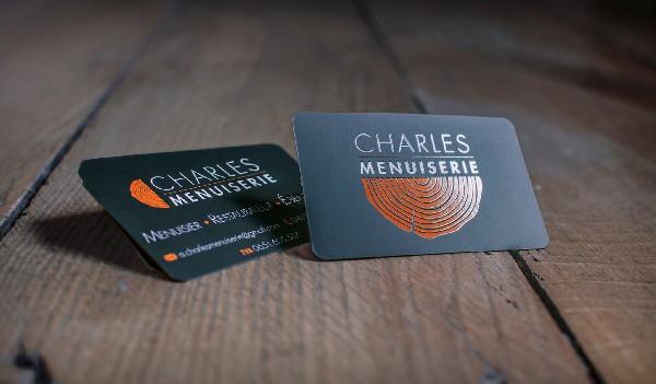 Cartes de visite (conception, impression, photo packshot)<br /> <br /> Plus d'infos ici:<br /> http://nicolasdechef.be/portfolio/conception-de-logo-charles-menuiserie